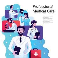 ilustração em vetor pôster de cuidados médicos