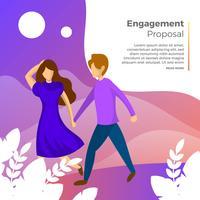 Proposta de noivado casal plana com ilustração em vetor fundo gradiente