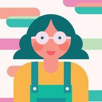 Garota colorida com óculos vetor