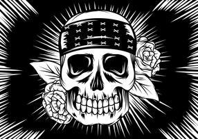 Linocut esqueleto com rosas vetor