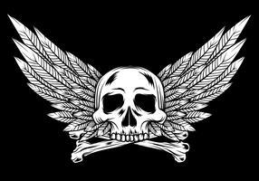 Crânio com asas Linocut Design vetor