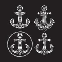coleção de ícones de âncora em preto vetor