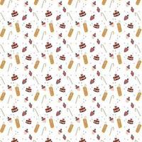 padrão sem emenda com morangos cobertos de chocolate uma bebida deliciosa um canudo de coquetel e um bolo desenhado à mão estilo vetor repetir fundo para tecido