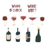 conjunto de vetores de vinho conjunto de desenho à mão de diferentes elementos de vidros e garrafas criados para projetos de menu com fundo branco