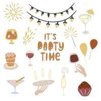 ilustração vetorial festa de aniversário definir elemento de desenho animado para se divertir balão de decoração feliz na data de nascimento bolos coquetéis vinho champanhe guirlandas vetor