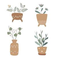 Conjunto de vetores de lindas plantas de casa em vasos marrons com enfeites decoração para casa flores isoladas isolado fundo branco