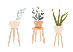 conjunto de vetores de plantas de casa fofas desenhadas à mão em montanhas-russas decoração de flores em estilo escandinavo isolado de fundo branco