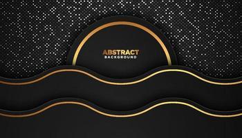 fundo geométrico abstrato preto com elementos de pontos brilhantes conceito de design de luxo vetor