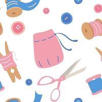 padrão sem emenda com acessórios de costura acessórios de bordado fio de agulha ferramentas diy para loja feita à mão oficina de costura padrão ilustração dos desenhos animados do vetor isolado no fundo branco