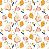 padrão sem emenda de vetor com peras maduras lichias e flores texturas desenhadas à mão na moda design abstrato moderno para decoração de interiores de tecido de capa de papel e outros usuários