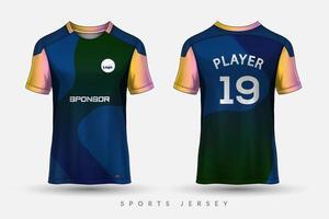 modelo de design de camisa de esporte de camisa de futebol para uniforme de corrida de basquete de futebol esporte em vista frontal vista traseira vetor