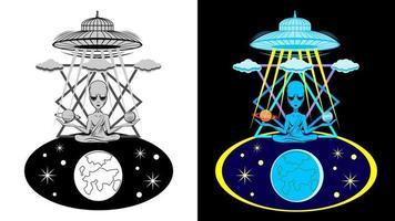 estilo de desenho animado de emblema de personagem alienígena vetor