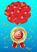 Balão e rótulo de comemoração de 15 anos de aniversário vetor