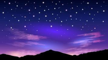 noite céu estrelado e nuvens rosa amanhecer vetor