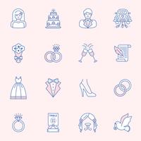 Conjunto de vetor de contorno de casamento ícone