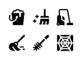 conjunto simples de ícones de linha de vetor relacionados à limpeza