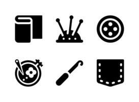 conjunto simples de ícones sólidos vetoriais relacionados à costura vetor