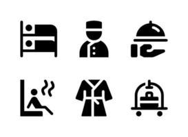 conjunto simples de ícones sólidos de vetor relacionados a serviços de hotel