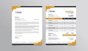 identidade visual de marca de negócios corporativos design estacionário papel timbrado e design de fatura vetor
