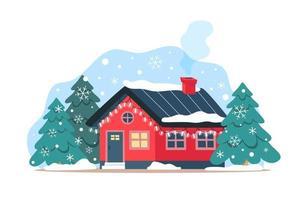 Linda casa de inverno com guirlandas festivas, decoração de natal para a fachada da casa vetor