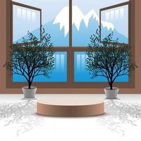 Fundo de pódio de vetor 3D com árvore de bonsai na sala