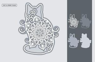 mandala de gato em camadas vetoriais 3d vetor