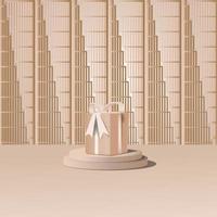 3D plataforma de estúdio minimalista com fundo geométrico e caixa de presente vetor