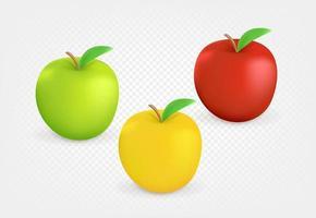 maçãs coloridas isoladas em fundo transparente vetor