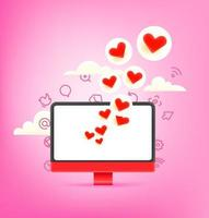 reação na mídia social com corações vermelhos vetor