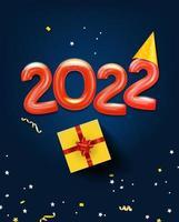 feliz novo cartão comemorativo de 2022 com balões de ar vetor