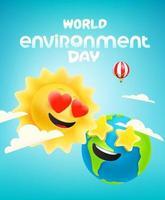 banner de vetor do dia do meio ambiente mundial com quadrinhos sol e terra
