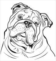 contorno de bulldog inglês vetor