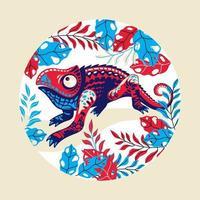 ilustração vetorial pele exótica camaleão multicolorida pode ser usada para design de impressão de moda vetor