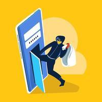 hacker phishing scam ataque conceito de vetor de segurança da web de phishing e fraude