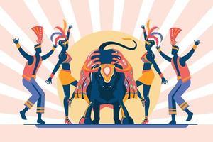 ilustração em vetor de celebração tradicional brasileira bumba meu boiy é traduzido como hit my bull