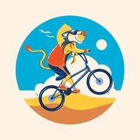 Leão andando de bicicleta na praia conceito para a temporada de verão vetor
