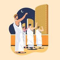 peregrinos do hajj apedrejando pilares de demônios ou comumente chamados de jamaraat. conceito de lançamento para a etapa sagrada de peregrinação muçulmana vetor