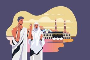 personagens de hajj de homem e mulher orando a Deus em Kaaba vetor