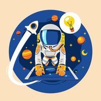garoto astronauta aprende astronomia online. conceito de lição sobre a terra e o espaço vetor