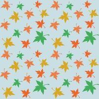 Padrão de repetição perfeita de folhas de bordo multicoloridas em um fundo azul vetor