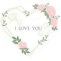 moldura em forma de coração com flores delicadas vetor