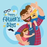 pai feliz com filho e filha para o dia dos pais vetor