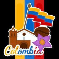 edifício de igreja com chapéu, grão de café e violão, imagem representativa da Colômbia vetor