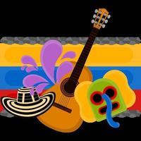 chapéu sombrero, máscara de marimaonda e violão sobre uma bandeira da Colômbia vetor