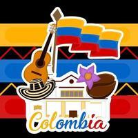 edifício de igreja com chapéu de bandeira, grão de café e guitarra, imagem representativa da Colômbia vetor