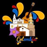 edifícios de igreja com uma flor e uma imagem do violão representativas da Colômbia vetor
