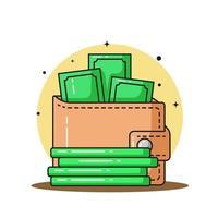 carteira e muito dinheiro ilustração vetorial ícone vetor