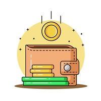 o dinheiro e a carteira com moedas deslizaram para a ilustração do ícone do vetor de carteira
