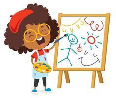 criança feliz pintando em tela vetor