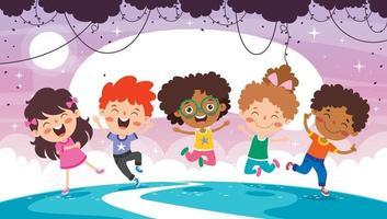 crianças multiétnicas felizes brincando juntas vetor